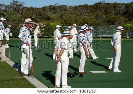 Gentlemen Lawn Bowling - stock photo