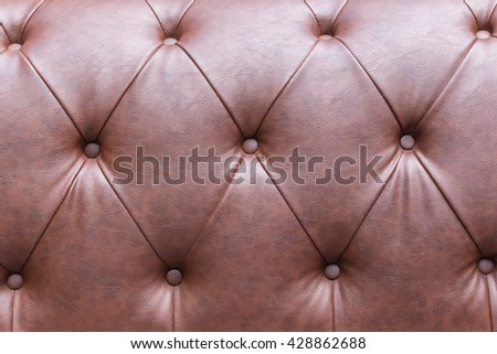 Genuine brown leather upholstery background for a luxury decoration  - stock photo