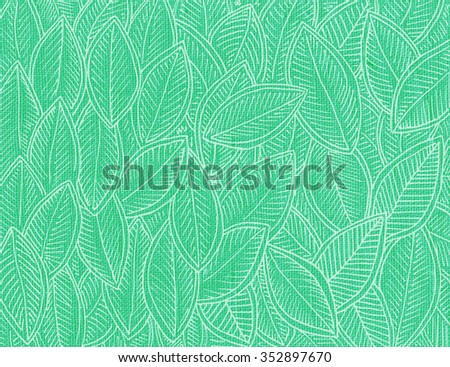 Genuine cotton linen cloth light green color with autumn leaves - stock photo