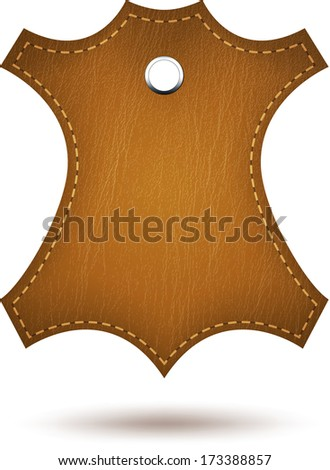 Genuine leather symbol isolated on white.