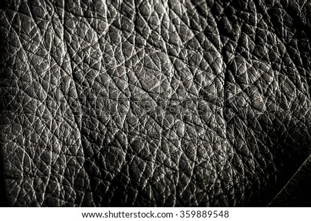 Genuine Leather Textured, Black. Close up Shot. Concept and Idea of Fine Leather Crafting, Handmade Leather Handcrafted, Background, Pattern and Wallpaper. - stock photo