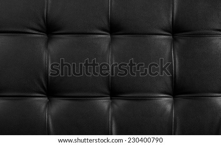 Genuine leather upholstery background for a luxury decoration in Black tones - stock photo