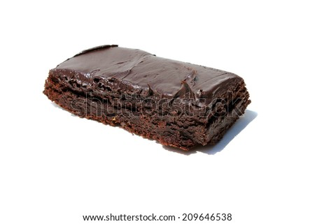 Genuine Medical Marijuana Chocolate Brownie, aka medical cannabis brownies, Pot Brownies or edibles.  Isolated on white with room for your text. Medical Edibles are a good alternative to smoking  - stock photo
