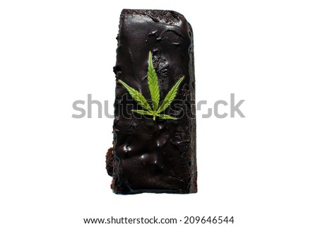 Genuine Medical Marijuana Chocolate Brownie, aka medical cannabis brownies, Pot Brownies or edibles. With a Genuine Marijuana Leaf in the frosting. Isolated on white with room for your text. - stock photo