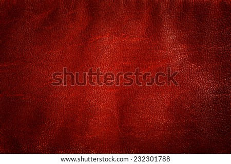 Genuine red leather background, pattern, texture. Natural structure  - stock photo