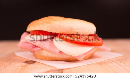 Genuine sandwich with healthy natural italian ingredients