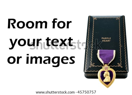 Genuine world war two purple heart and case isolated on white with room for your text or images - stock photo