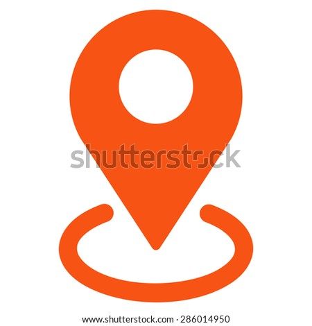Geo Targeting icon from Business Bicolor Set. This flat glyph symbol uses orange color, rounded angles, and isolated on a white background. - stock photo