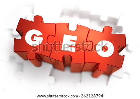Geo - Text on Red Puzzles. White Background and Selective Focus. - stock photo
