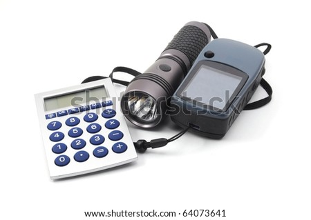 geocaching still life with gps and flashlight isolated on white background