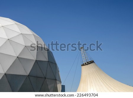Geodesic dome & tensile structure - stock photo