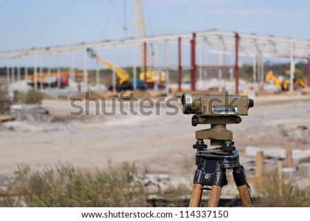Geodesy tacheometry. Surveying instruments. Instrument and tacheometry - stock photo