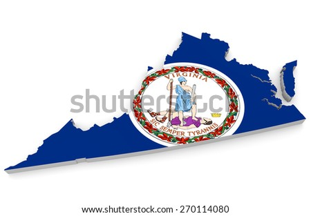 Geographic border map and flag of Virginia, Old Dominion state