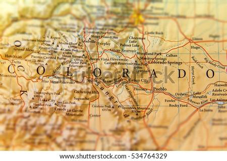 Geographic Map Colorado State Close Stock Photo - Colorado state map