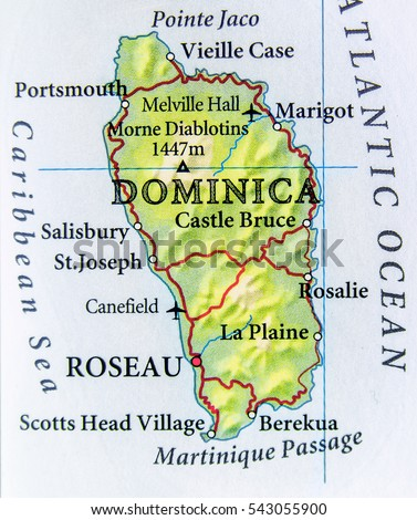 Geographic Map Dominica Country Important Cities Stock Photo Image