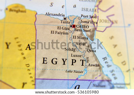 Geographic Map Egypt Important Cities Stock Photo Royalty Free