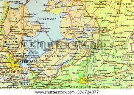 Geographic map of European country Netherlands with important cities