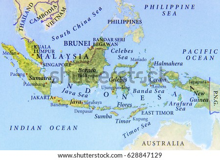 Geographic map malaysia brunei indonesia important stock photo geographic map of malaysia brunei and indonesia with important cities sciox Choice Image