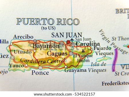 Geographic Map Of Puerto Rico With Capital San Juan A United St