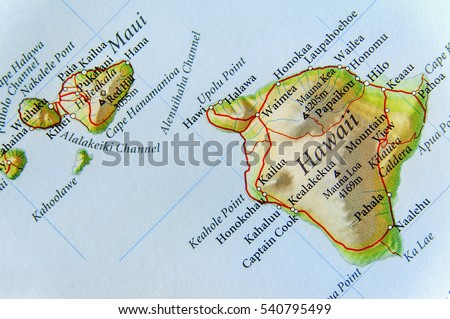 Geographic Map Us State Hawaii Important Stock Photo 540795499