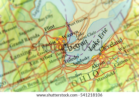 Geographic Map Us State Michigan Detroit Stock Photo - Geographic map us