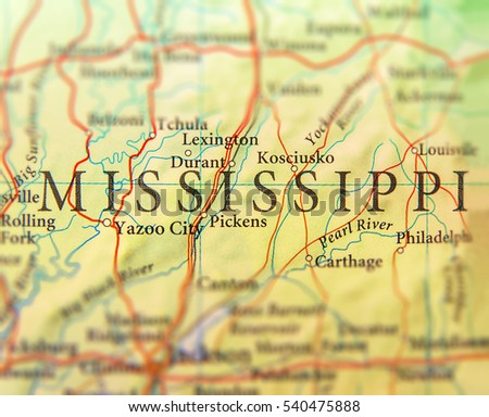 Geographic Map Of Us State Mississippi With Important Cities