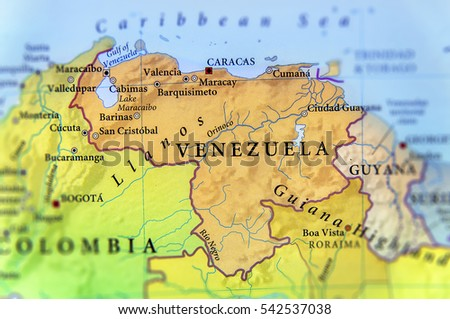 Geographic map of Venezuela countries with important cities