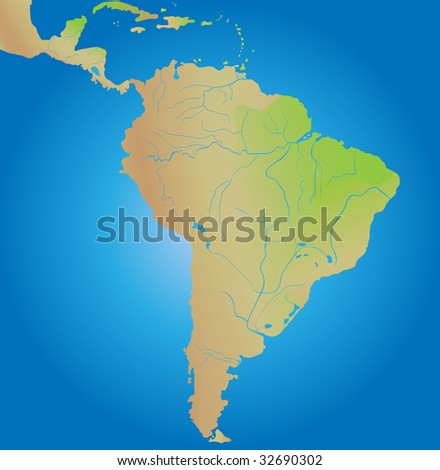 Geographical map of continent of South America - stock photo