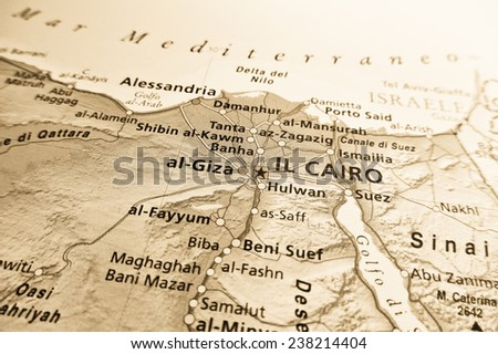 Geographical view of Egypt - stock photo