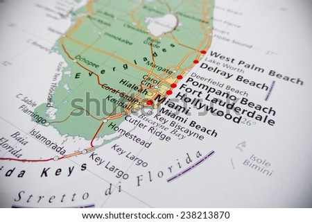 Geographical view of Hollywood and Miami - stock photo