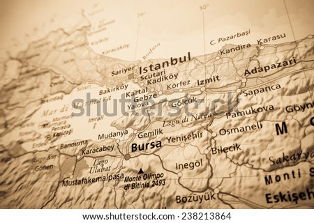 Geographical view of Istanbul (Geographical view altered on colors/perspective and focus on the edge. Names can be partial or incomplete) - stock photo