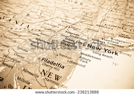 Geographical view of New York - stock photo