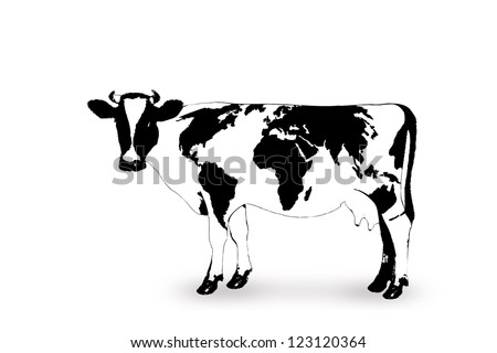 geography cow - cow with world map - stock photo
