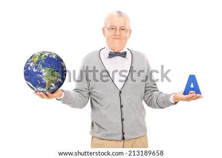 Geography professor holding a globe and a letter isolated on white background, Elements of this image furnished by NASA - stock photo