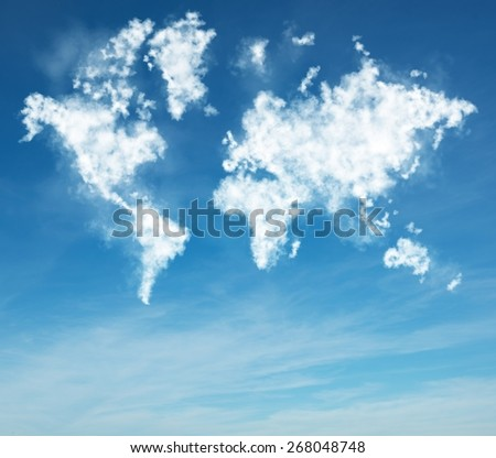 Geography vision in the sky from clouds - stock photo
