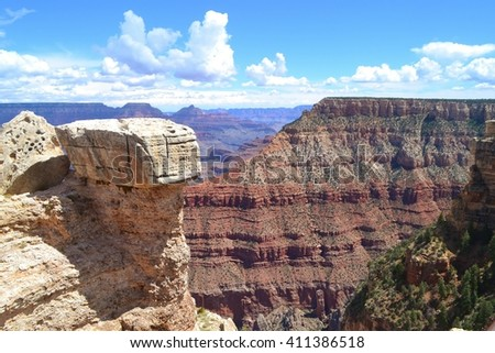 Geologic History of the Grand Canyon Shown in Layers of Rock - stock photo
