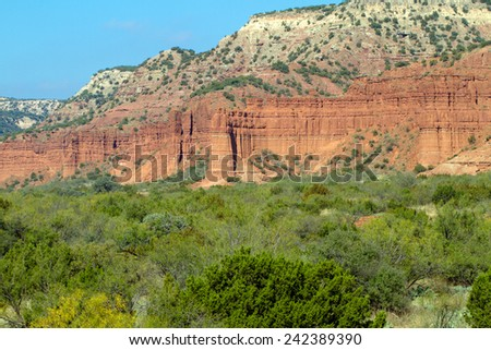 Geological formations in Caprock Canyons State Park in Texas - stock photo