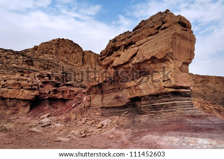 Geological rock formations in Timna Park, Israel.