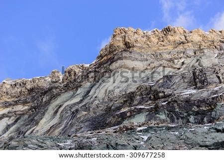 Geological stratification - Monte Furggen - Aosta Valley - stock photo