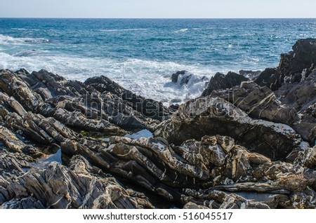 geological structures at the coast of Genoa Nervi in Italy