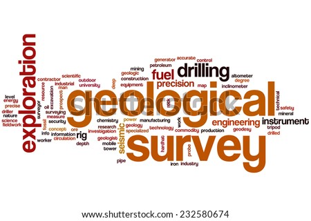 Geological survey word cloud concept - stock photo