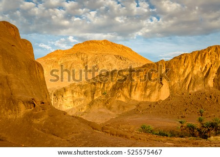 Geologically very interesting country over Fint oasis near the city Ouarzazate in Morocco