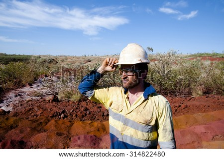 Geologist in Active Iron Ore Exploration Field - Outback Australia - stock photo