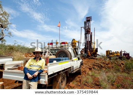 Geologist in Iron Ore Drilling Field - Outback Australia - stock photo