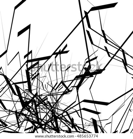 Geometric abstract art. Edgy, angular rough texture. Monochrome, black and white illustration