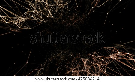 Geometric Abstract mesh background with circles and lines. 3D rendering illustration.