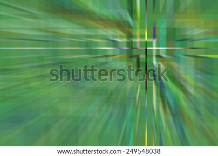 Geometric abstract of an alternate green reality with multicolored cross hairs off center, like a district of office buildings targeted from on high at warp speed - stock photo