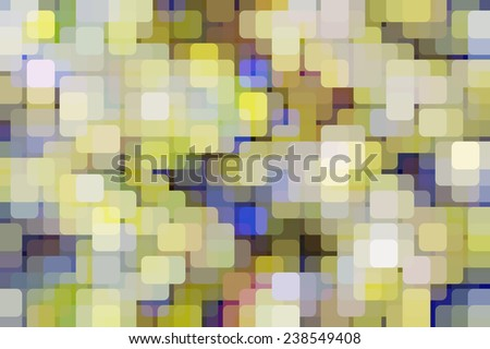 Geometric abstract of city lights on a grid, with rounded squares of various colors overlapping for illusion of three dimensions, for themes of multiplicity - stock photo