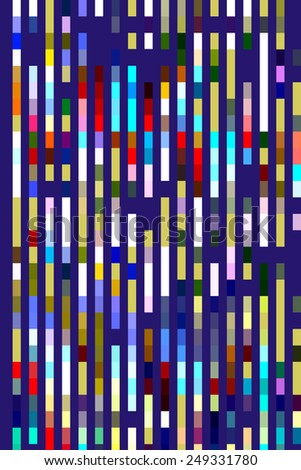 Geometric abstract of multicolored segmental stripes on dark blue for themes of parallelism, repetition, and order - stock photo