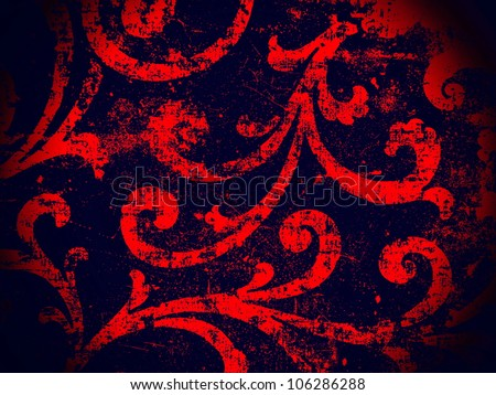 Geometric, abstract, vintage, retro, grungy, arabesque ornamented tile in black and red. Good for islamic, arabian, middle east, scrapbooking, damask, emo, halloween, abstract or interior design. - stock photo